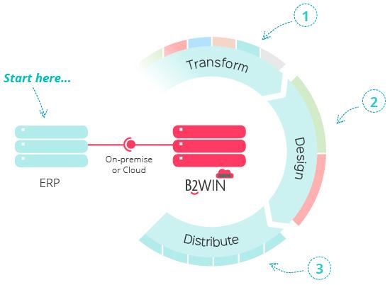B2Win Infographic, Transform, Design, then Destribute